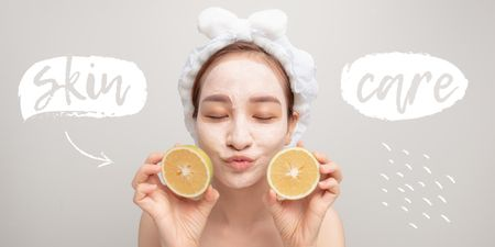Template di design Skincare concept with Woman in face Mask Twitter