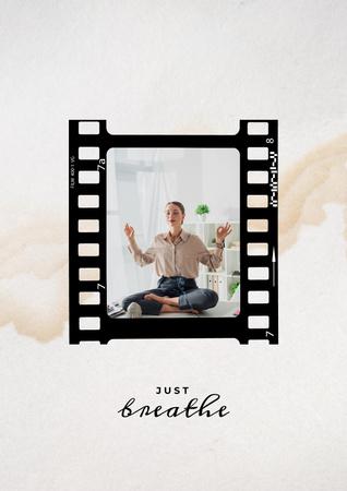 Woman practicing Yoga at home Poster Modelo de Design