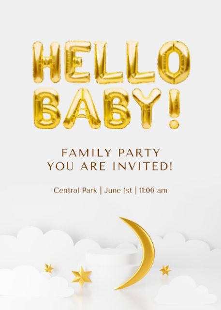 Birthday Family Party Announcement with Golden Moon Invitationデザインテンプレート