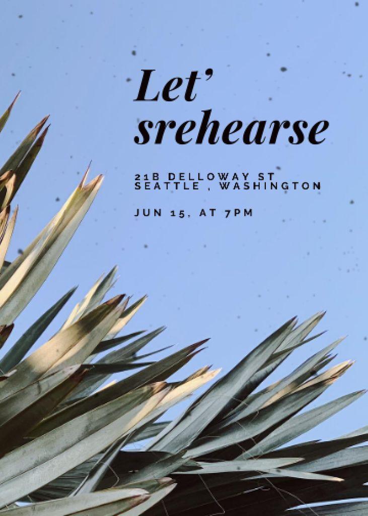 Rehearsal Dinner Announcement with Tropical Leaves Invitation – шаблон для дизайна