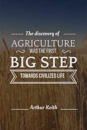 Plantilla de diseño de Agricultural quote with field of wheat Pinterest