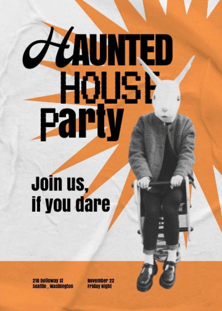 Halloween Party Announcement with Scary Rabbit Character Invitation Modelo de Design