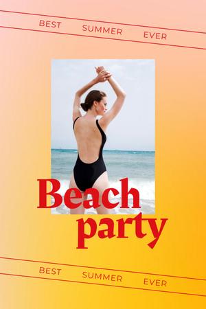 Summer Beach Party Announcement with Woman in Swimsuit Pinterest Modelo de Design