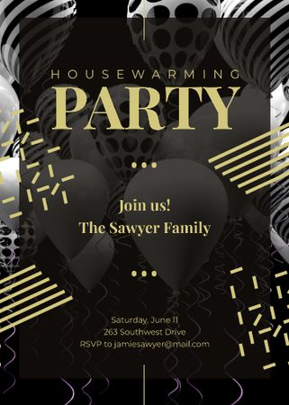 Template di design Balloons and Confetti for Party in Black Invitation