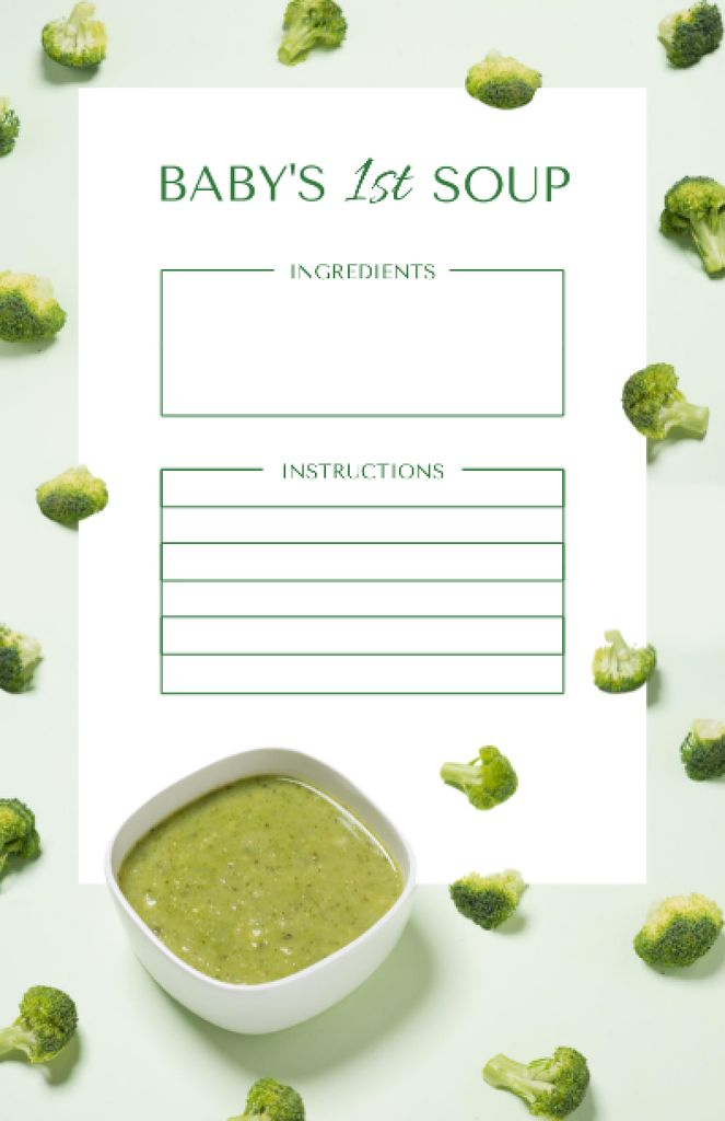 Healthy Broccoli Soup Cooking Steps Recipe Cardデザインテンプレート