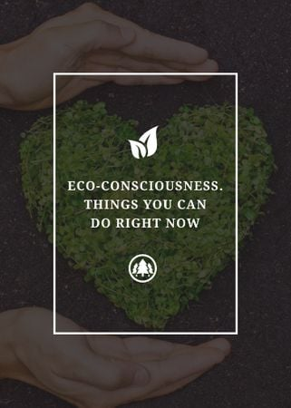 Plantilla de diseño de Eco Quote on Heart of Leaves Flayer