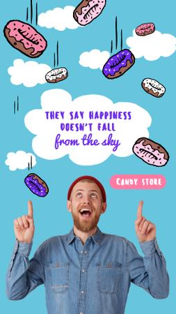 Modèle de visuel Cute Candy Store Offer with Falling Donuts - Instagram Story