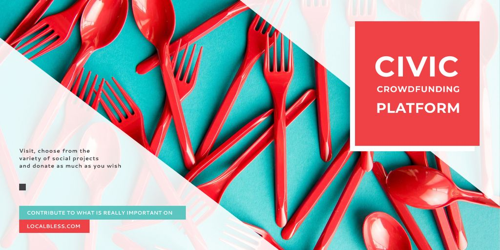Template di design Crowdfunding Platform Red Plastic Tableware Image