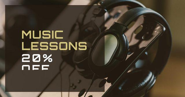 Music Lessons Discount Offer Facebook AD Modelo de Design