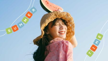 Summer Inspiration with Cute Girl holding Watermelon Youtube Thumbnail Modelo de Design