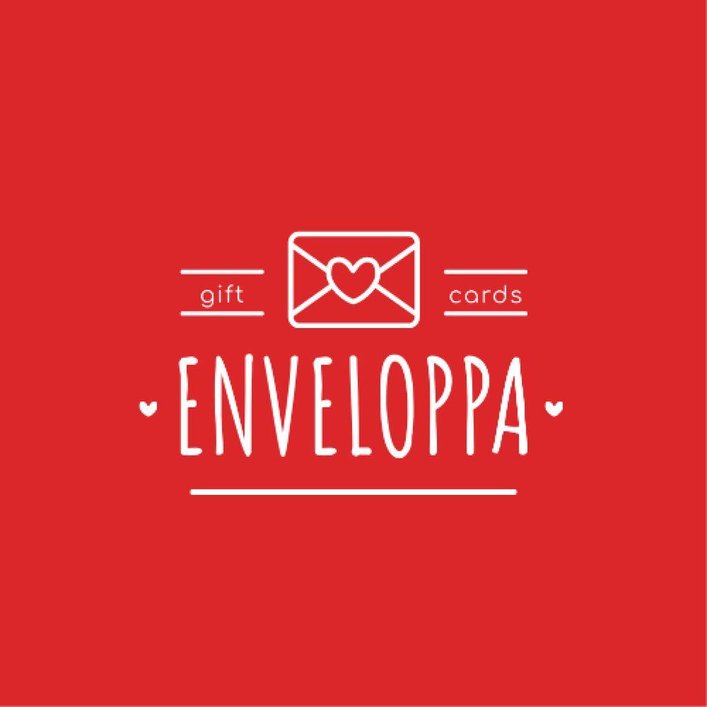Plantilla de diseño de Envelope with Heart Sign in Red Logo