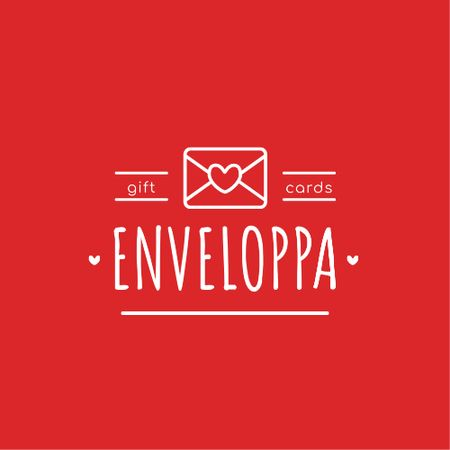 Ontwerpsjabloon van Logo van Envelope with Heart Sign in Red
