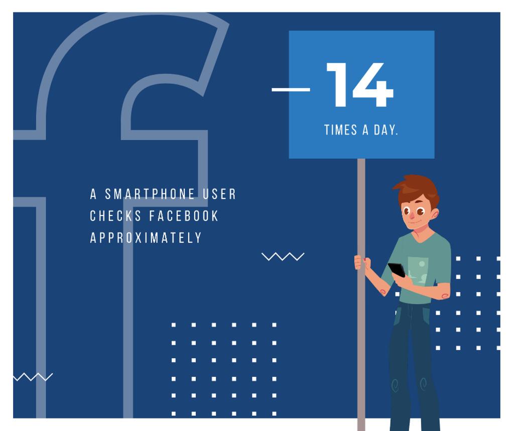 Plantilla de diseño de Man using app on smartphone Facebook
