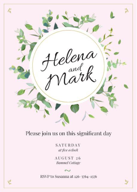Wedding Invitation Elegant Floral Frame Invitation Design Template