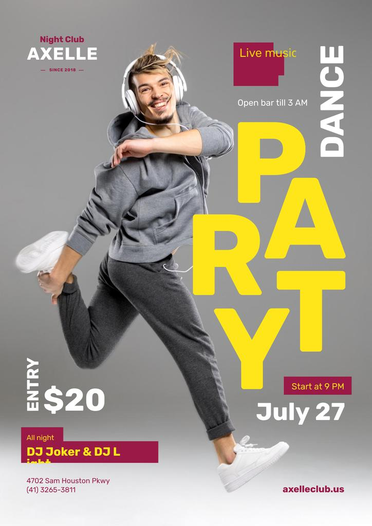 Party Invitation with Man in Headphones Jumping in Grey — Modelo de projeto
