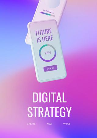 Designvorlage Digital Strategy with Modern Smartphone für Poster