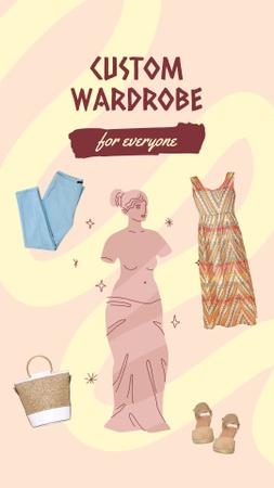 Custom Clothes Ad with Antique Statue Illustration Instagram Story Modelo de Design