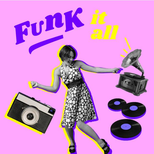 Funny Illustration of Dancing Girl and Gramophone Instagram Tasarım Şablonu