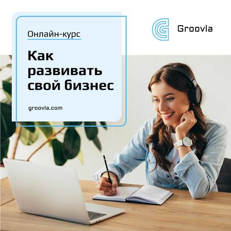 Business Course Promotion Woman with Notebook and Laptop Instagram – шаблон для дизайна