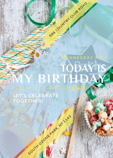 Birthday Party Invitation Bows and Ribbons Invitation Šablona návrhu