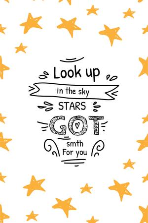 Inspirational Quote with Stars Pinterest Modelo de Design