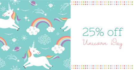 Plantilla de diseño de Unicorn Day Offer with Cute Unicorns Facebook AD