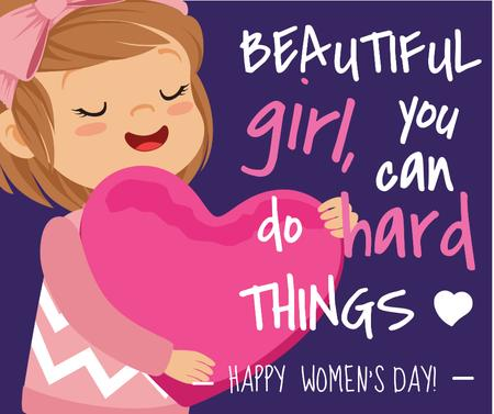 Ontwerpsjabloon van Facebook van Women's day greeting girl with Heart