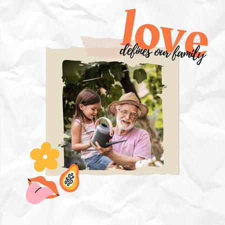 Template di design Happy Grandpa watering Flowers with Granddaughter Instagram