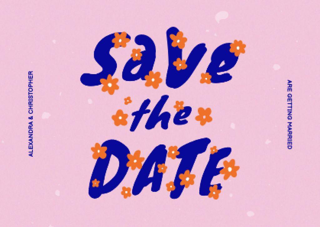 Plantilla de diseño de Wedding Announcement with Cute Flowers Card