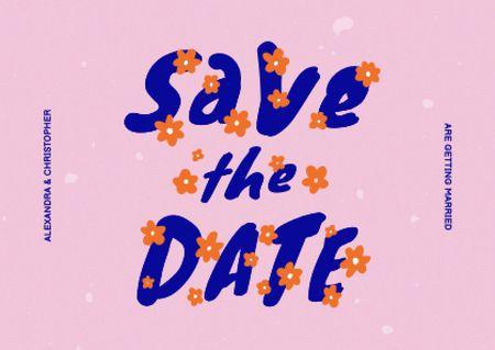 Wedding Announcement with Cute Flowers Card – шаблон для дизайна