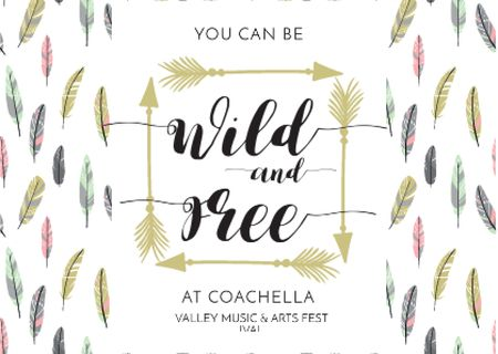 Coachella Festival Invitation with Feathers and Arrows Postcard Design Template