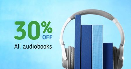 Template di design Audiobooks Discount Offer with Headphones Facebook AD