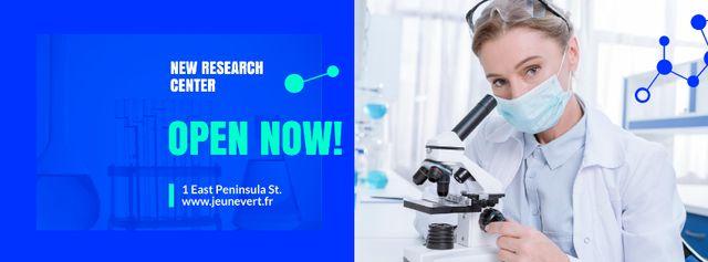 Scientist Working by Microscope Facebook cover – шаблон для дизайна