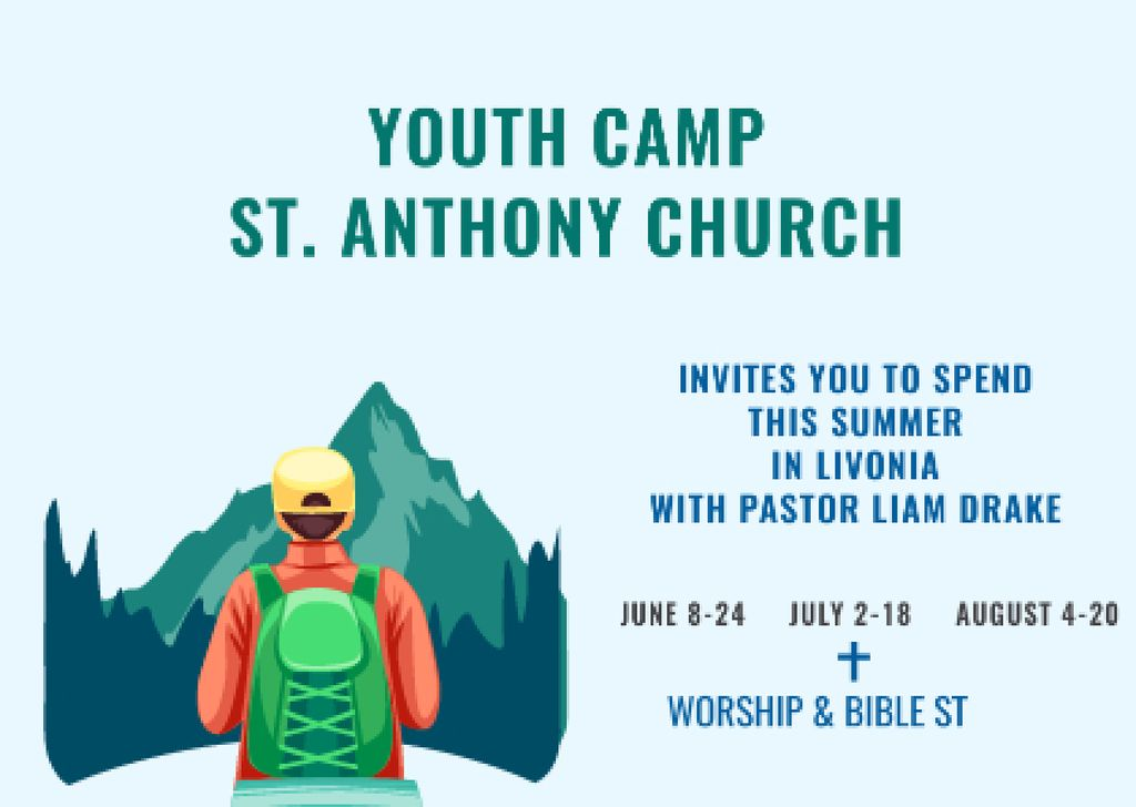 Youth Religion Camp invitation with boy in Mountains — Créer un visuel