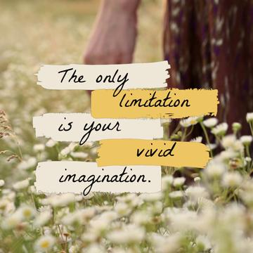 Inspirational Quote with Girl in Flower Field