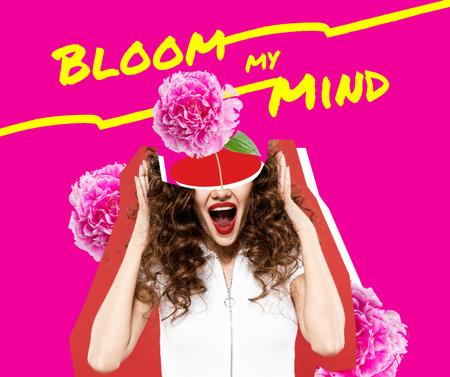 Cute Phrase with Flower in Girl's Head Facebook – шаблон для дизайну