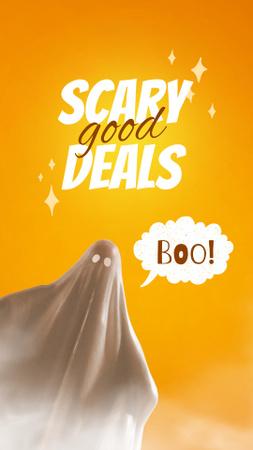 Designvorlage Halloween Sale Offer with Scary Ghost für Instagram Video Story