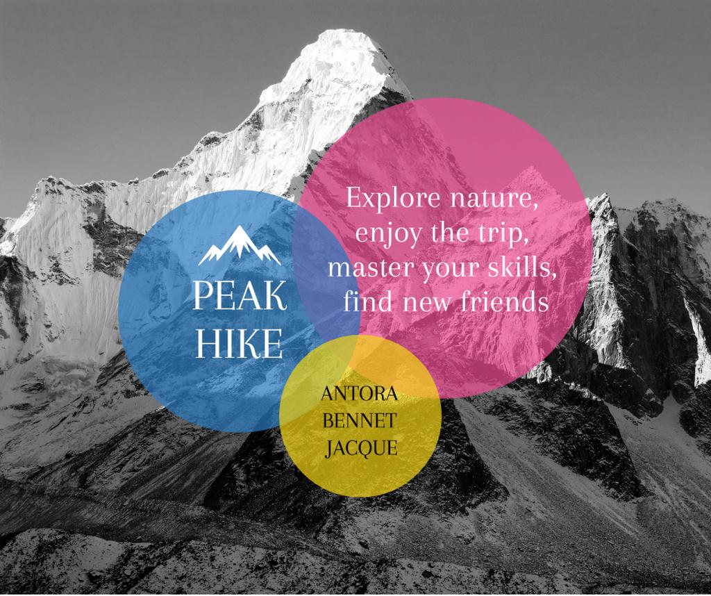 Ontwerpsjabloon van Facebook van Hike Trip Announcement Scenic Mountains Peaks