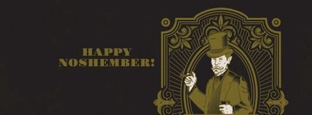 Ontwerpsjabloon van Facebook cover van Movember Greeting with Barber