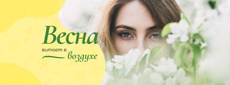 Dreamy girl with Spring Flowers Facebook cover – шаблон для дизайна