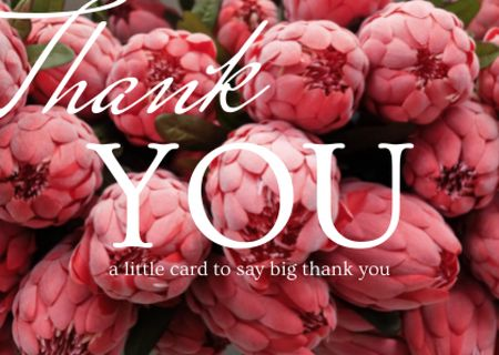Thankful Lettering with Pink Tender Peonies Card Design Template