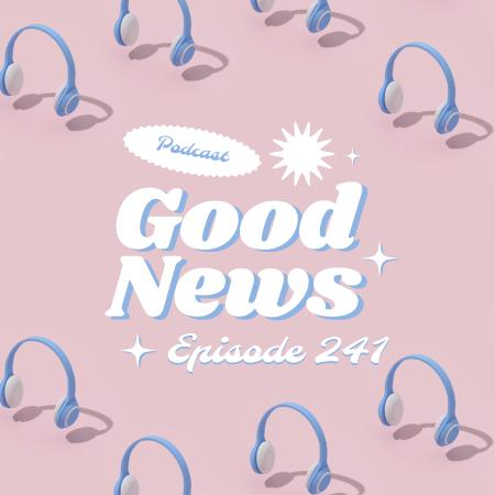 Template di design News Podcast Announcement with Headphones Podcast Cover