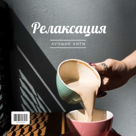 Pouring Coffee in cup Album Cover – шаблон для дизайна