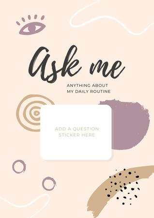 Plantilla de diseño de Daily Routine question form in pink Poster