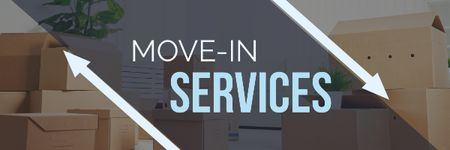 Plantilla de diseño de Move-in services with boxes Email header