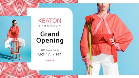 Showroom Grand Opening announcement with Stylish Woman FB event cover Modelo de Design