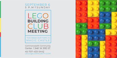 Plantilla de diseño de Lego Building Club Meeting with Constructor Bricks Twitter
