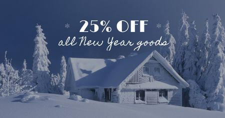 Template di design New Year Offer with Snowy House Facebook AD