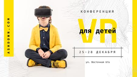 Tech Conference Kid in VR Glasses FB event cover – шаблон для дизайна
