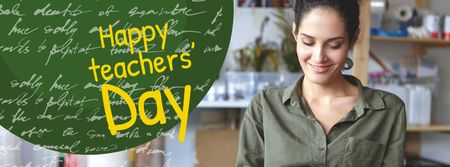 Teacher's Day Greeting with Teacher in Classroom Facebook cover Modelo de Design